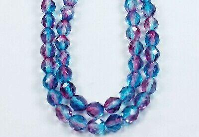 25 Aqua/Fuchsia Czech Firepolished Faceted Round Glass Beads 8mm