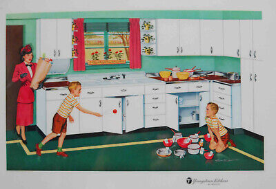 VINTAGE 1957 YOUNGSTOWN KITCHEN MULLINS PROMOTIONAL PLACEMAT LITHO REMIE HAMON 3