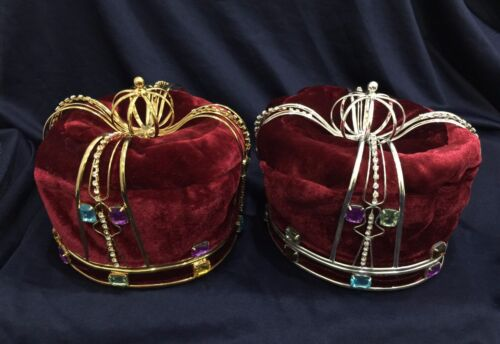Kings Crown Crystal Rhinestone &Color stone w/ Burgundy Velvet .Pick Your Color!