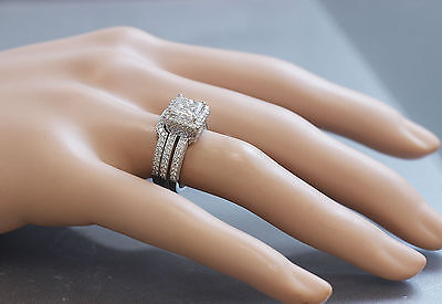 GIA G-VS2 14K white gold princess cut diamond engagement ring and band 2.50ctw 3
