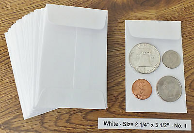25 New Small 2 14 X 3 12 White Coin Envelopes 5.7x8.89cm Coins Not Included