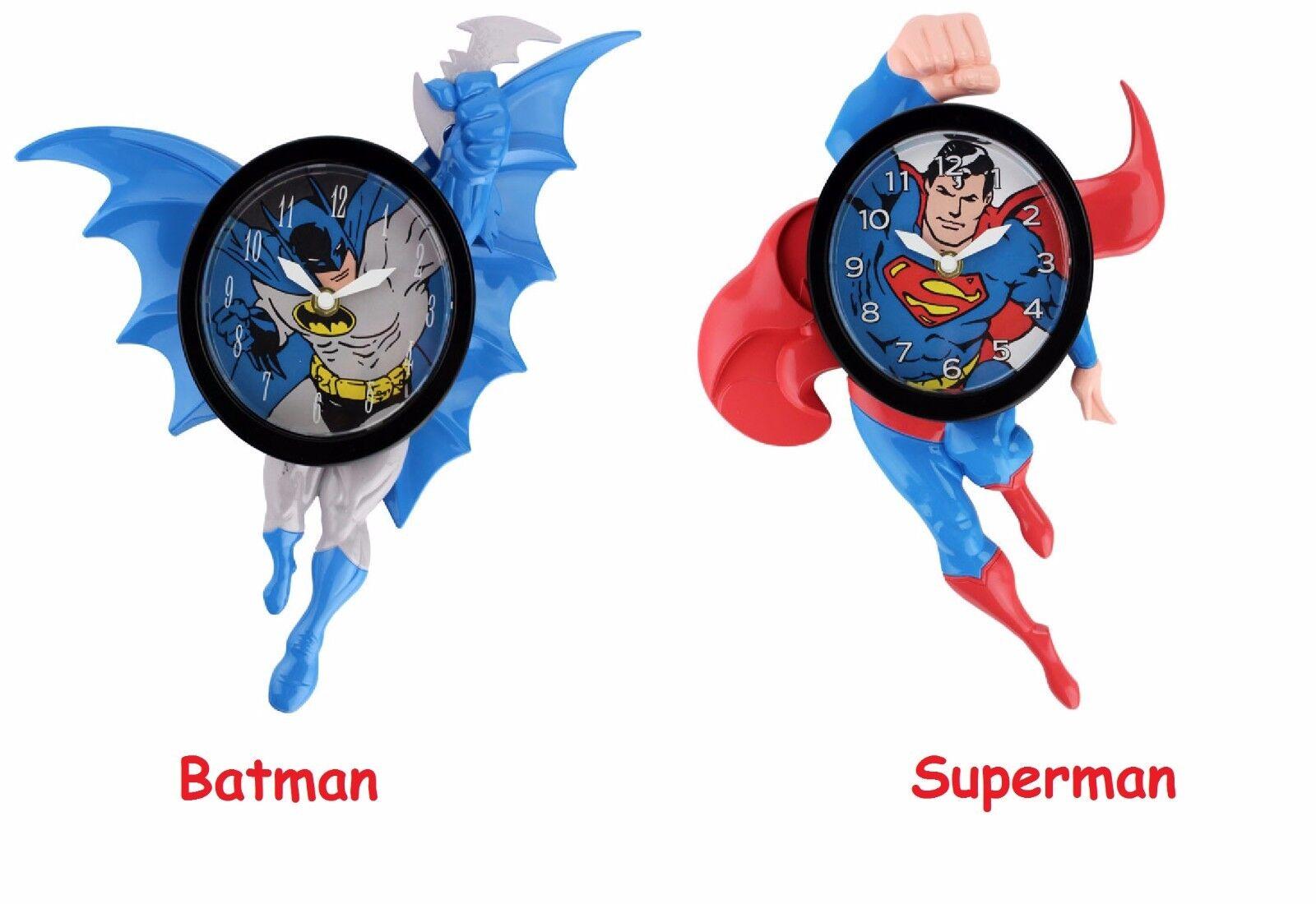 dc comics batman superman novelty motion wall clock