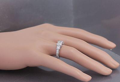 GIA I-SI1 14k White Gold Princess Cut Diamond Engagement Ring Antique 1.60ctw 1