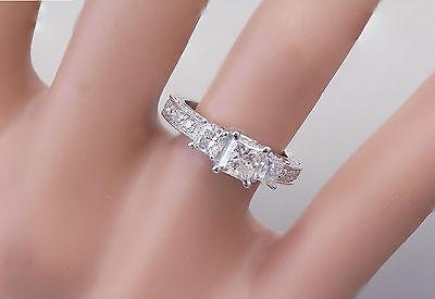 GIA I-SI1 14k White Gold Princess Cut Diamond Engagement Ring Antique 1.60ctw