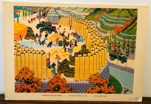 Vintage Chinese Cultural Revolution Poster - Mao, China, Peasant, Propaganda