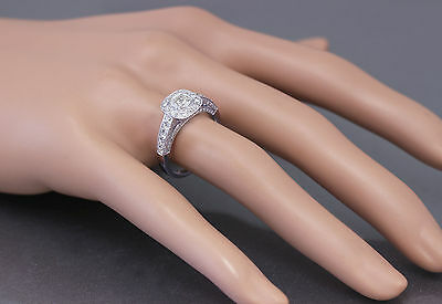 GIA D-SI1 14k White Gold Cushion Cut Diamond Engagement Ring Bezel Deco 1.70ctw 9