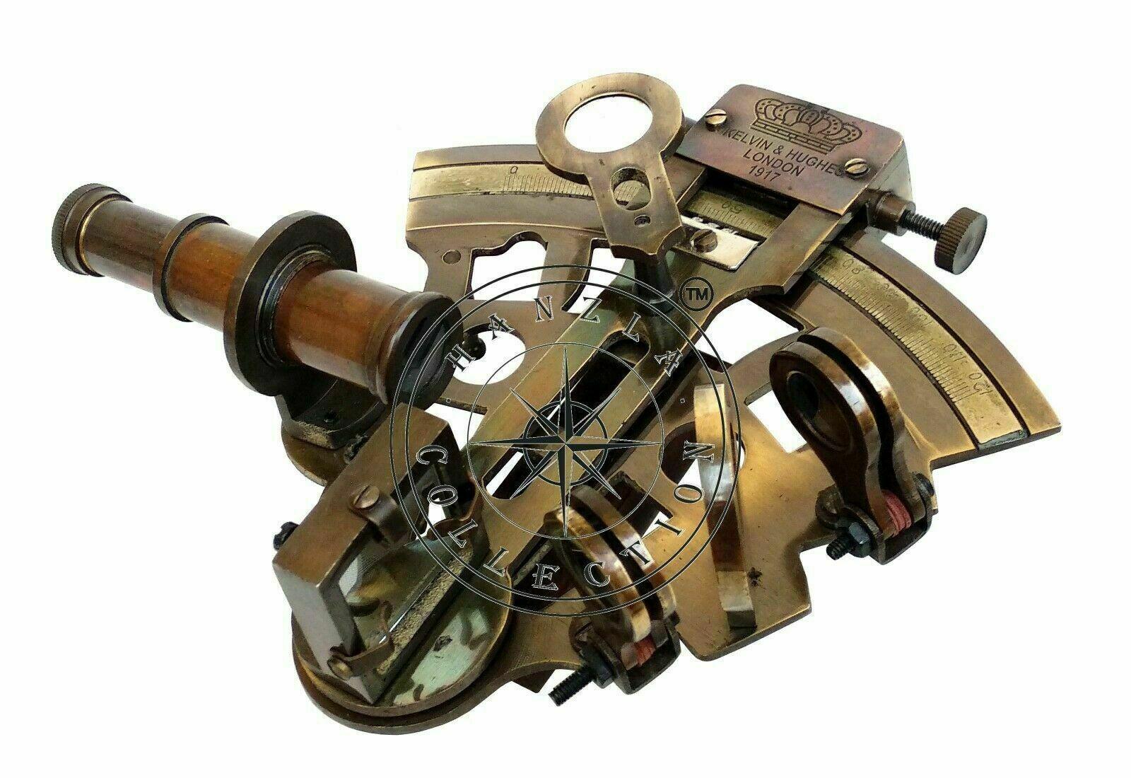 Купить Antique Brass Working Marine Sextant Collectible Vintage Nautical Ship Astrolabe