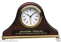 Rosewood Piano Finish Mantel Desk Quartz Clock With Alarm & Free Personalization