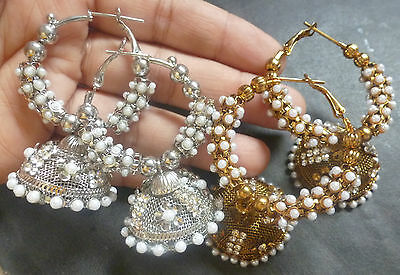 (2 pairs Antique Gold & Antique SIlver Pearl Indian Ring Jhumka Earrings cc)