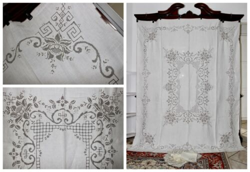 Vintage MADEIRA Exquisite Hand Embroidered Irish Linen Tablecloth + 12 Napkins