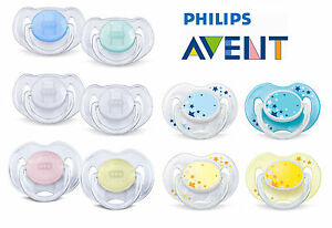 2-x-Baby-Soother-Dummy-Nipple-Philips-Avent-Night-Time-0-6m-6-18m-Pacifier