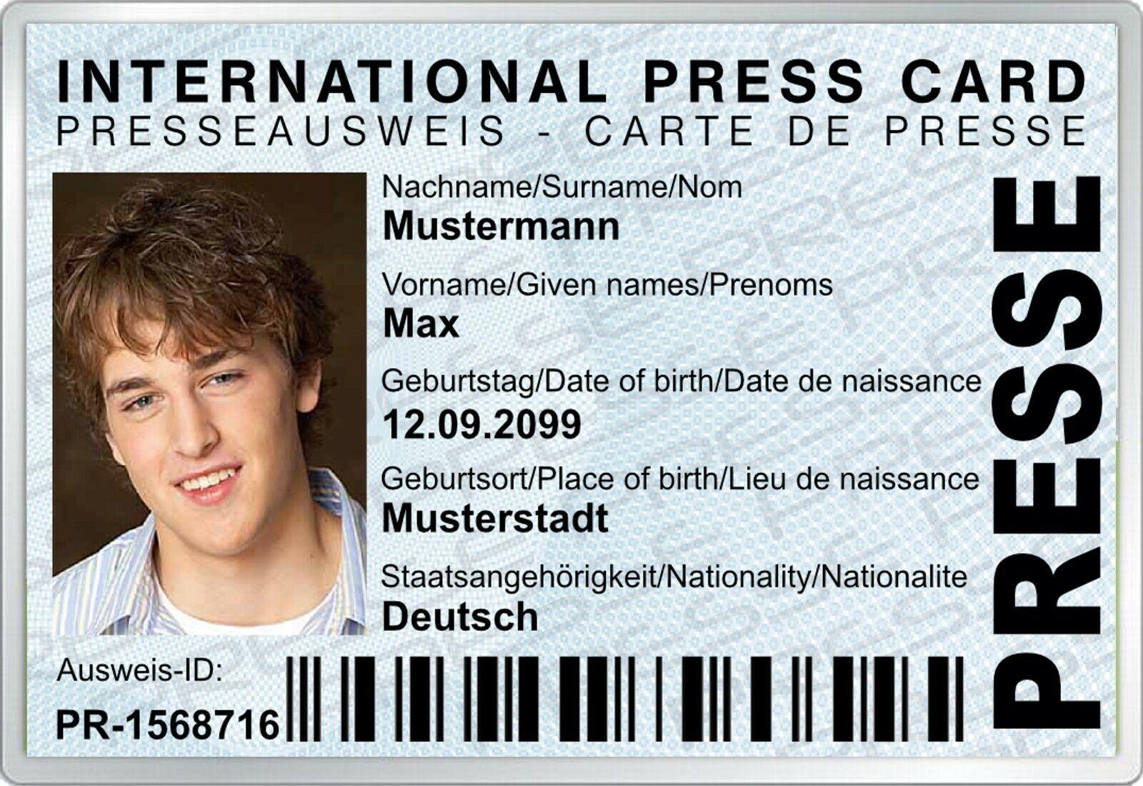 Internationaler Presseausweis, Scherzartikel, Lustig, Personalisiert - AU-320
