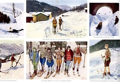 Wintersport Schweiz XXL Doppelseite 1927 Arosa Davos St. Moritz Pontresina