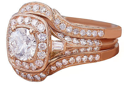 GIA H-VS2 14k Rose Gold Round Cut Diamond Engagement Ring And Bands 2.70ctw 2