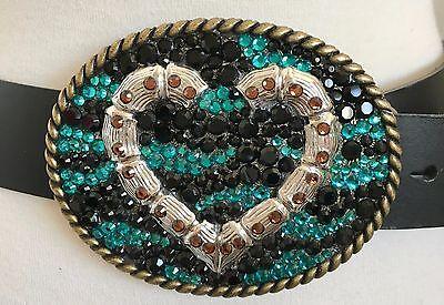 Пряжки Black Leather Belt Heart Zebra