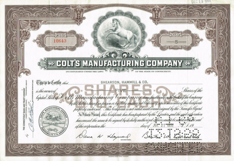USA COLTS MANUFACTURING COMPANY stock certificate FAMOUS FIREARMS