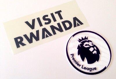 2018-19 Arsenal VISIT RWANDA Home Shirt OFFICIAL Sponsor Logo & Patch Set image