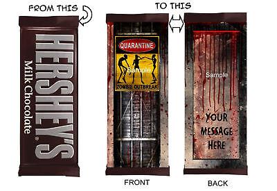 Walking Dead Zombies Halloween Birthday Candy Bar Wrappers Labels](Candy Bar Wrappers Halloween)