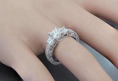 GIA I-SI1 14k White Gold Princess Cut Diamond Engagement Ring Antique 1.60ctw 8