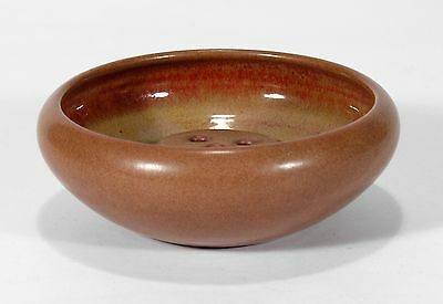 Marblehead Pottery undecorated matte tobacco brown bowl with frog arts & crafts