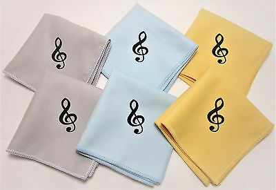 "6 Music Polish Cleaning Cloth For Guitar Bass Violin Treble Clef 8""x8"" 3 colors"