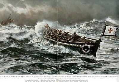 Rettungsboot Wangerooge XXL Kunstdruck 1926 Claus Bergen Rotes Kreuz Schiffbruch