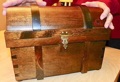 Puzzle Pirate Treasure Chest - All Wood - Handcrafted - Find Hidden -