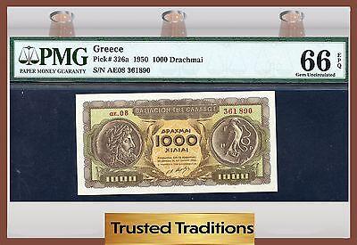 TT PK 326a 1950 GREECE 1000 DRACHMAI PMG 66 EPQ GEM UNCIRCULATED POP ONE