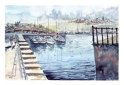 "original aquarell "" Boats"" abstrakt signiert 30cmx21cm"