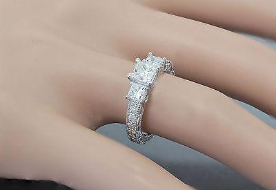 GIA I-SI1 14k White Gold Princess Cut Diamond Engagement Ring Antique 1.60ctw 9