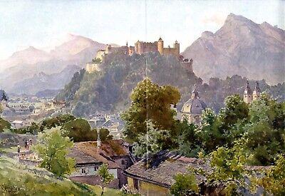 Salzburg XXL Kunstdruck 1908 von Edward Compton * Stoke Newington † Feldafing