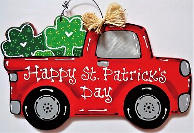 St. Patrick's Day VINTAGE TRUCK WALL ART Sign Door Hanger Hanging Plaque - St Patrick's Day Art