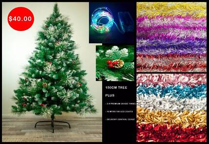 PREMIUM 150cm Christmas Tree Green & White with BONUS ITEMS