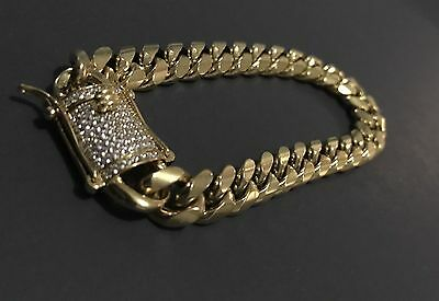 "Men Cuban Miami Link bracelet Stainless Steel 18k Gold Plated 10mm 8"""