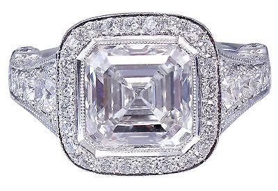 GIA I-VS2 18k White Gold Asscher Cut Diamond Bezel Engagement Ring Deco 3.30ctw 11