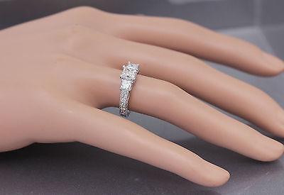 GIA I-SI1 14k White Gold Princess Cut Diamond Engagement Ring Antique 1.60ctw 10