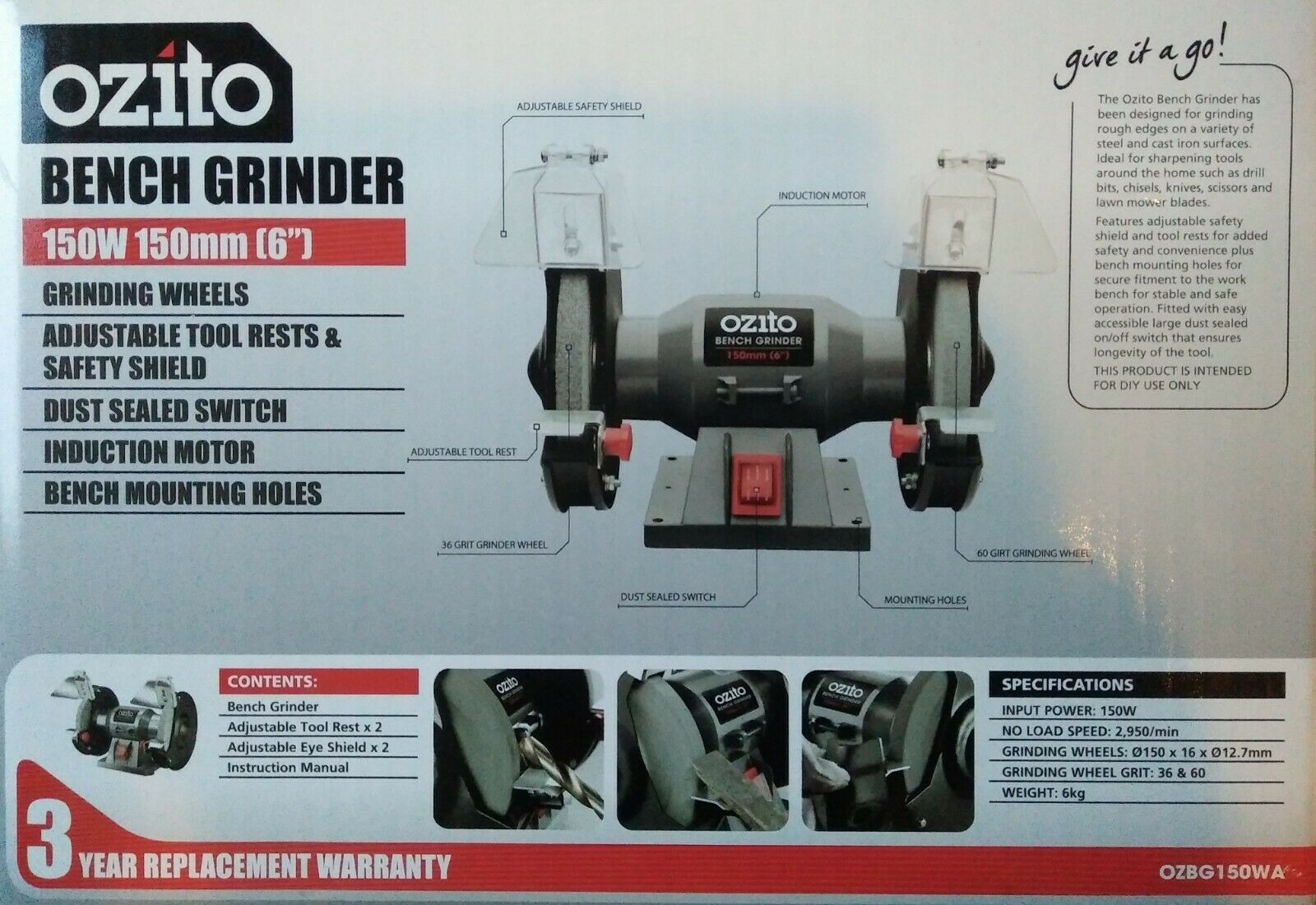 Pleasing Details About Ozito 150Mm 6 Bench Grinder 150W Induction Motor Adjustable Eye Safe Shields Short Links Chair Design For Home Short Linksinfo