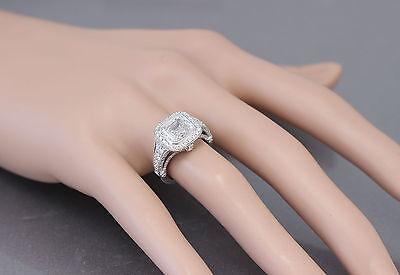 GIA I-VS2 18k White Gold Asscher Cut Diamond Bezel Engagement Ring Deco 3.30ctw 2