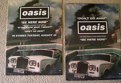 "OASIS (2)1997 ""Be Here Now""RARE R&R Music Mag.Promo Poster Ads-Beauty-Free Ship!"