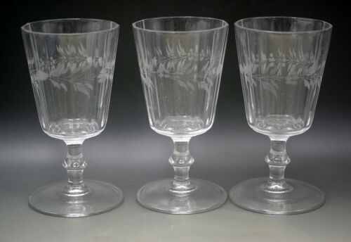 EARLY AMERICAN GLASS FERN ETCH SET OF 3 GOBLETS RIBBED FLINT GLASS