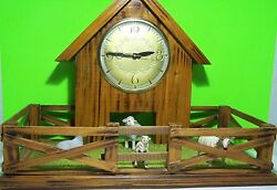 Wall/Table-Barn & Gate Elect.Clock-Decorate As You Wish! X-Mas, All Holidays!