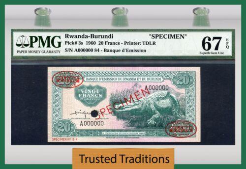 "Tt Pk 3s 1960 Rwanda-burundi 20 Francs ""crocodile"" Pmg 67 Epq Superb Gem New"