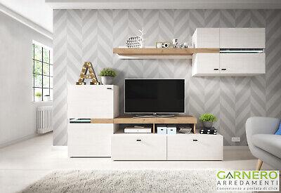 Parete attrezzata BETTY pino rovere moderna mobile soggiorno design salotto tv