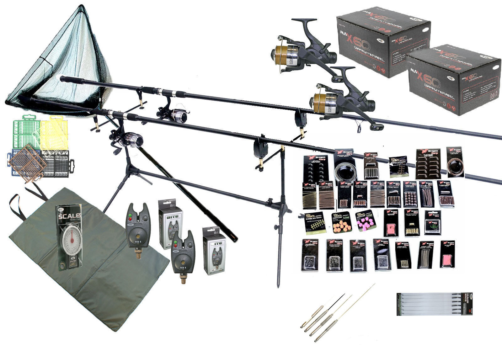 Set Rods Reels  Bait Tools Mat Tackle GIANT Accessory Pack Carp Fishing Kit
