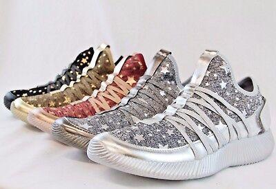Glitter Star Shoe - Women Ultra Lightweight Slip-on Sneaker Glitter Shinny Star Design Trainers Shoe