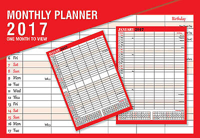 2017 Calendar Large Month To View Red & Black Planner Wall Office New ST-9306