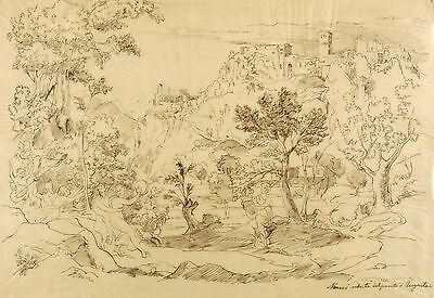 JOSEPH ANTON KOCH - NARNI / VEDUTE DEL PONTE D'AUGUSTE - Federzeichnung 1819