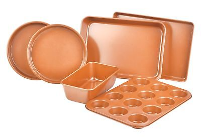 6 Piece Set Copper Nonstick Bakeware Ceramic Infused Loaf Muffin Cake Pan Sheet