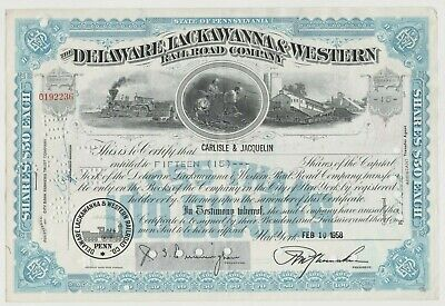 Delaware Lackawanna & Western Railroad Company Stock Certificate Blue Western Railway Stock