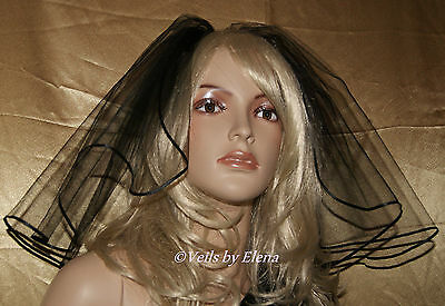 Wedding Bridal Veil Shoulder Gothic Halloween Black Red 15